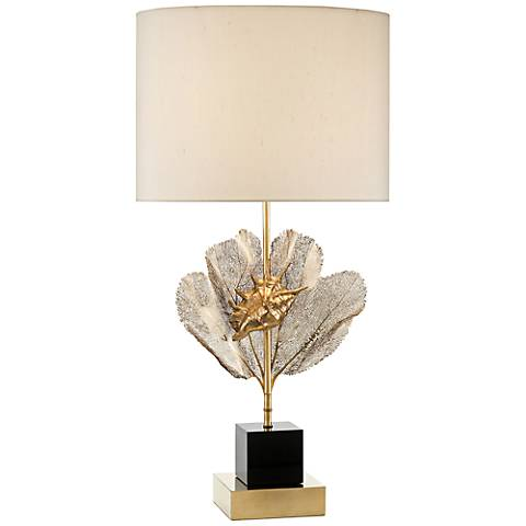 John Richard Brass Sea Fern and Seashell Accent Lamp