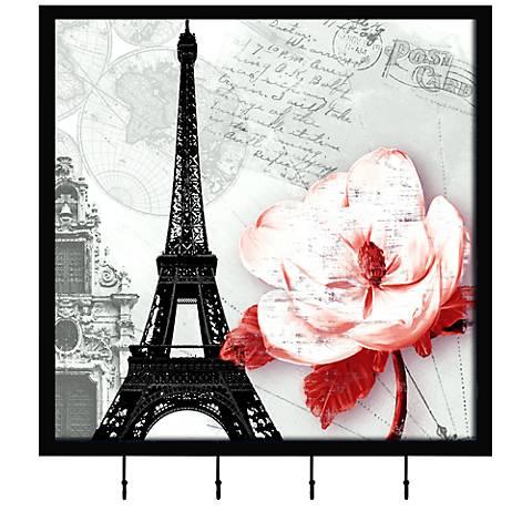 "Paris Flower l 15 1/4"" Square Wall Art with Hooks"