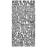 "Kids Rules 30"" High Framed Canvas Wall Art"