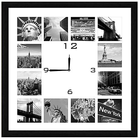 "NY Photo Collage 20"" Square Wall Clock"
