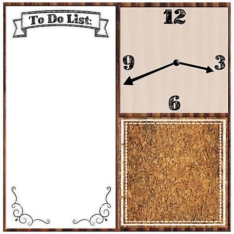 """Memo Board 23"""" Square Wall Clock"""