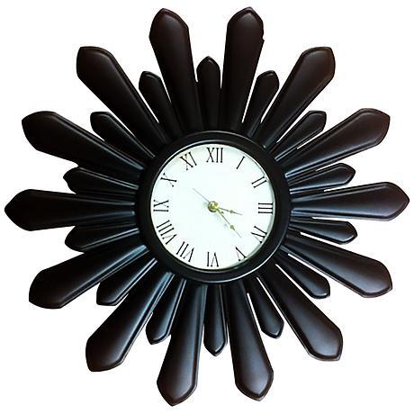 """Espresso Starburst 19 1/2"""" Round Metal Wall Clock"""
