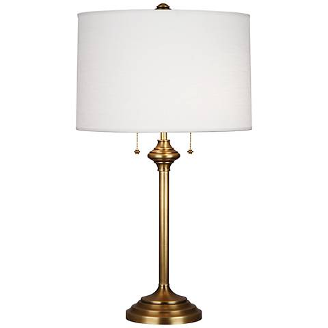 Robert Abbey Monroe Antique Brass Column Table Lamp