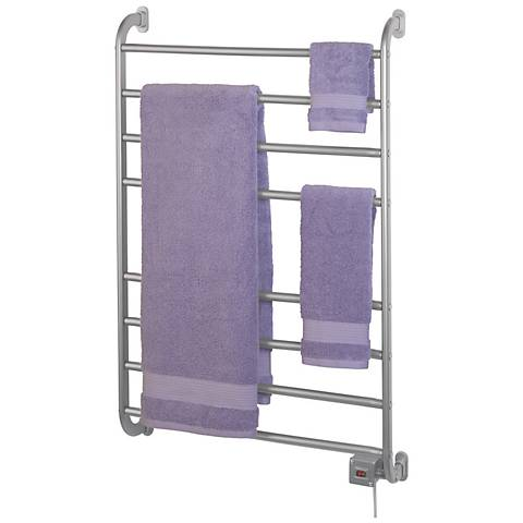 "Kensington 39 1/2"" High Wall Mounted Nickel Towel Warmer"