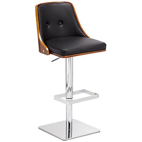 Braiden Black Faux Leather Adjustable Barstool