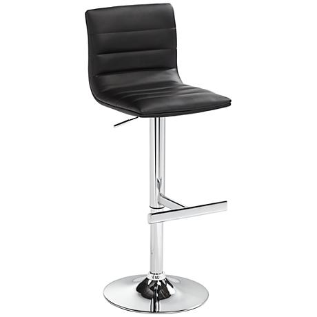 Motivo Black Faux Leather Adjustable Barstool