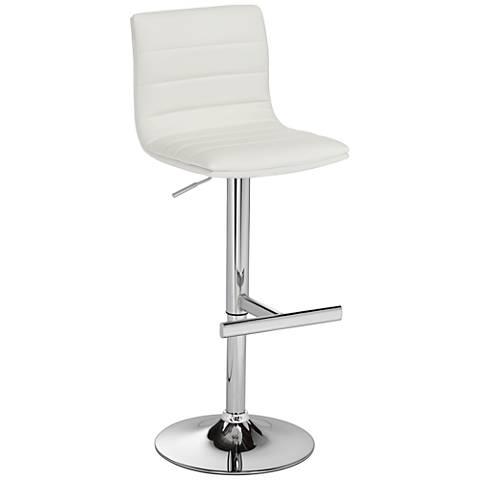 Motivo White Faux Leather Adjustable Barstool