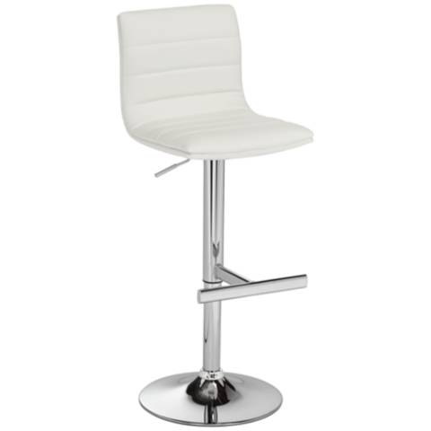 motivo white faux leather swivel seat adjustable barstool 6p829 lamps plus. Black Bedroom Furniture Sets. Home Design Ideas