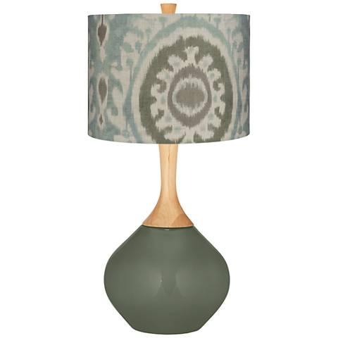 Deep Lichen Green Blue Batik Paisley Wexler Table Lamp