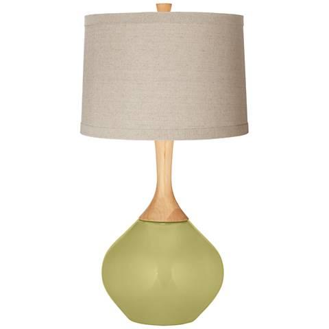 Linden Green Natural Linen Drum Shade Wexler Table Lamp