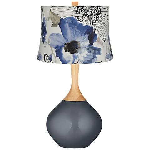 Blue Watercolor Flowers Blue Flowers Wexler Table Lamp