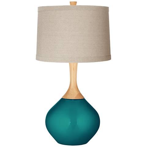 Magic Blue Metallic Natural Linen Drum Shade Wexler Table Lamp