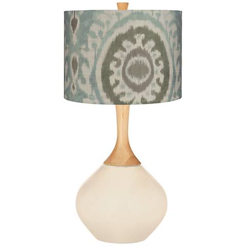 Steamed Milk Blue Batik Paisley Wexler Table Lamp
