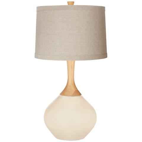 Steamed Milk Natural Linen Drum Shade Wexler Table Lamp