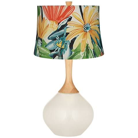 West Highland White Multi-Color Daisies Wexler Table Lamp