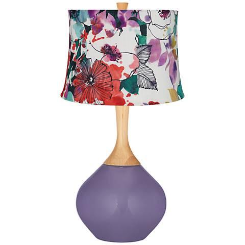 Purple Haze Multi-Color Flowers Wexler Table Lamp