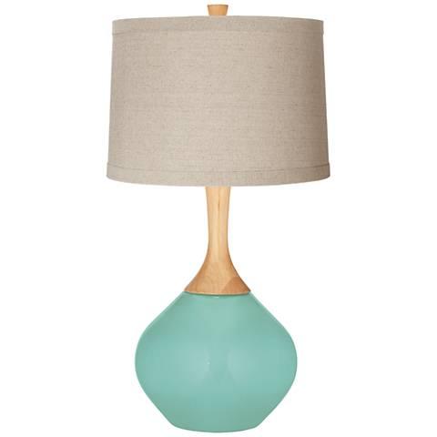 Rapture Blue Natural Linen Drum Shade Wexler Table Lamp