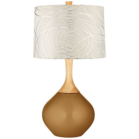 Light Bronze Metallic Abstract Silver Circles Shade Wexler Lamp