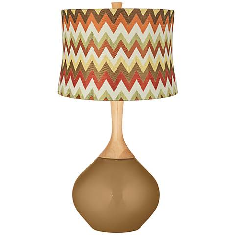 Light Bronze Metallic Red and Brown Chevron Shade Wexler Lamp