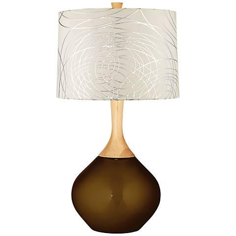 Bronze Metallic Abstract Silver Circles Shade Wexler Table Lamp
