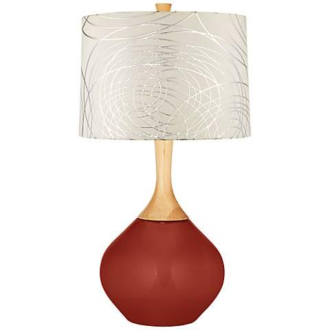 Madeira Abstract Silver Circles Shade Wexler Table Lamp