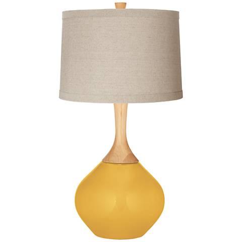 Goldenrod Natural Linen Drum Shade Wexler Table Lamp