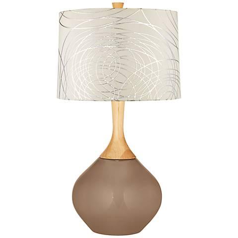 Mocha Abstract Silver Circles Shade Wexler Table Lamp