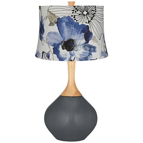Black of Night Blue Watercolor Flowers Wexler Table Lamp