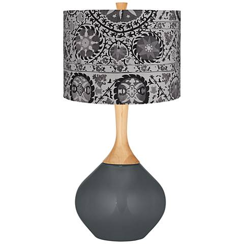 Black of Night Gray Suzani Wexler Table Lamp