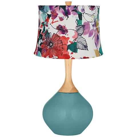 Reflecting Pool Multi-Color Flowers Wexler Table Lamp