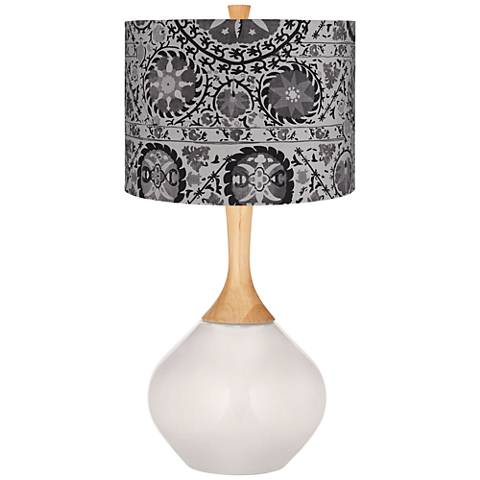 Smart White Gray Suzani Wexler Table Lamp