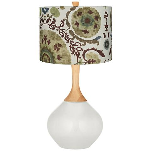 Winter White Green Floral Paisley Wexler Table Lamp