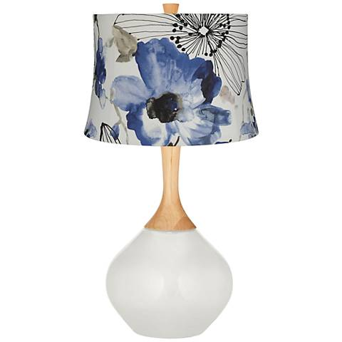 Winter White Blue Watercolor Flowers Wexler Table Lamp