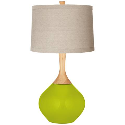 Pastel Green Natural Linen Drum Shade Wexler Table Lamp