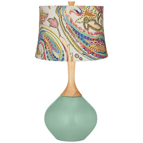 Grayed Jade Watercolor Paisley Wexler Table Lamp