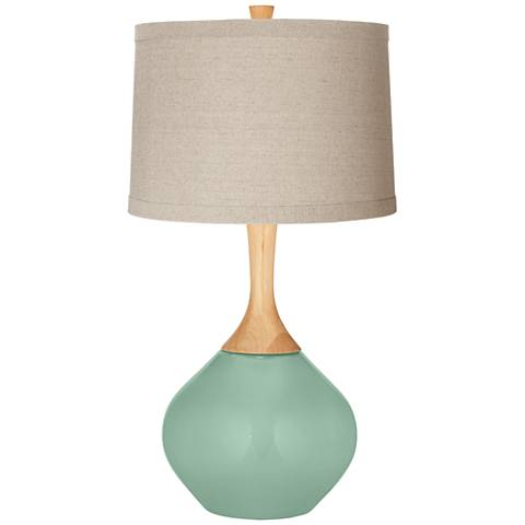Grayed Jade Natural Linen Drum Shade Wexler Table Lamp