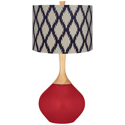 Ribbon Red Beige Diamonds Wexler Table Lamp