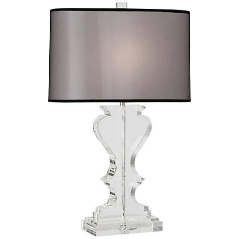 Dunmore Black Shade Clear Crystal Table Lamp