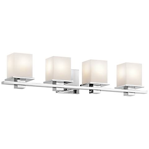 "Kichler Tully 32"" Wide Chrome Opal 4-Light Bath Light"