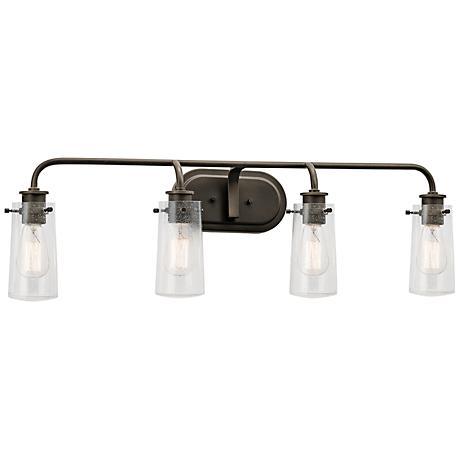 "Kichler Braelyn 34 1/4"" Wide Olde Bronze 4-Light Bath Light"