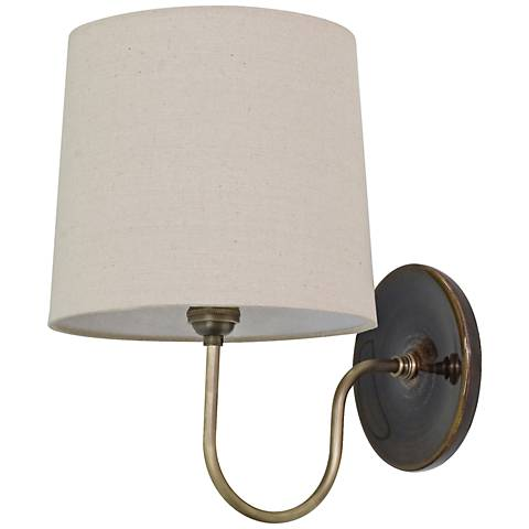 House of Troy Scatchard Stoneware Brown Plug-In Wall Lamp