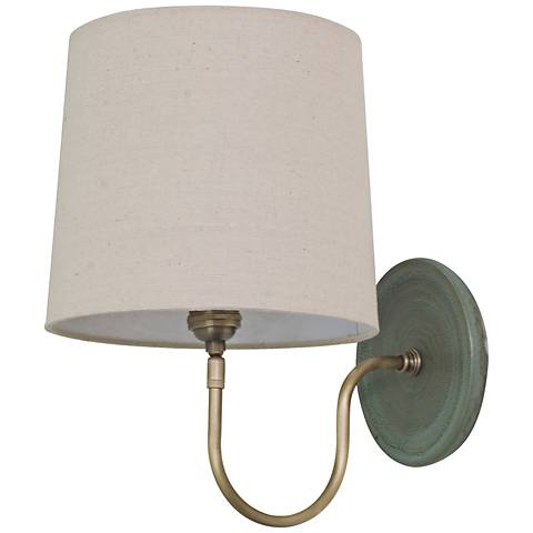 House of Troy Scatchard Stoneware Green Plug-In Wall Lamp