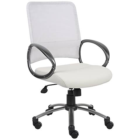 Boss White Mesh Fabric Adjustable Task Chair