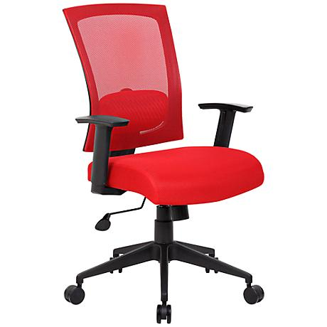 Boss Red Mesh Fabric Adjustable Task Chair