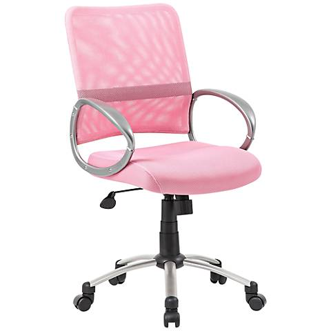 Boss Pink and Pewter Mesh Fabric Adjustable Task Chair