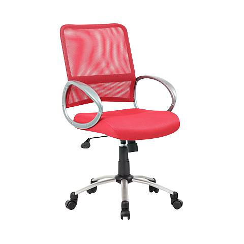 Boss Red and Pewter Mesh Fabric Adjustable Task Chair