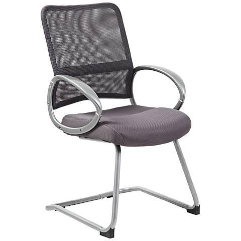 Boss Mesh Fabric Gray Reception Chair