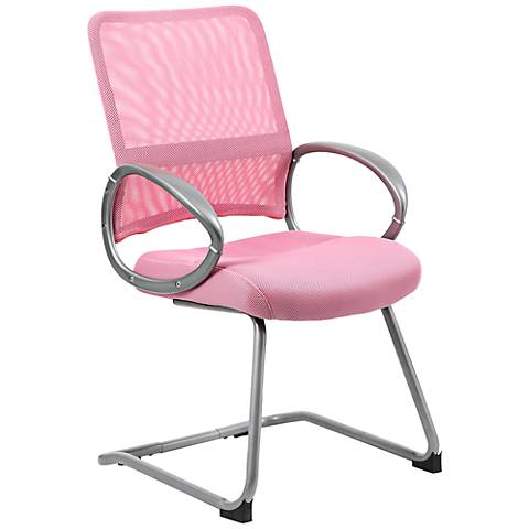 Boss Mesh Fabric Pink Reception Chair