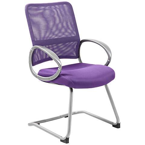 Boss Mesh Fabric Purple Reception Chair