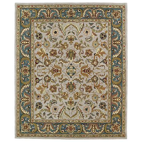 Kaleen Taj TAJ04-27 Taupe and Blue Wool Area Rug
